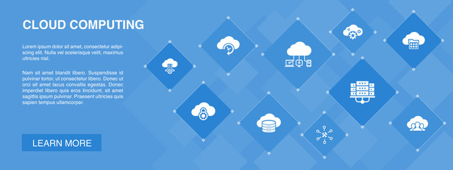 Cloud computing banner 10 icons concept. Cloud Backup, data center, SaaS, Service provider icons