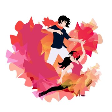 Young couple are dancing argentine tango. The hem of the girl dress at the same time looks like flames and a flying bird.