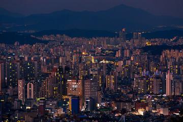 Seoul South Korea at night skyline