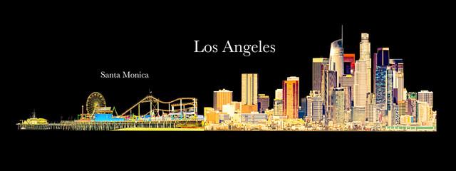 Los Angeles and Santa Monica Illustration