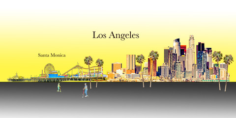 Wall Mural - Los Angeles and Santa Monica Illustration