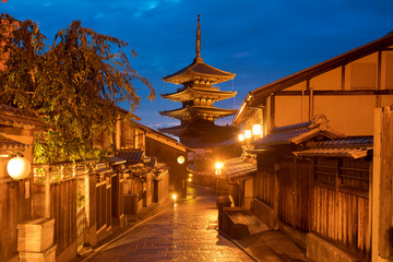 Wall Murals Kyoto Kyoto Japan at night pagoda ancient city