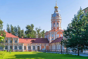 Southern seminary building, Southwest tower and Metropolitan house of the Saint Alexander Nevsky Lavra in Saint Petersburg, Russia