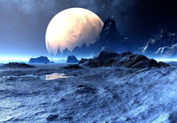 Fototapeta 3D Rendered Fantasy Alien Landscape - 3D Illustration obraz