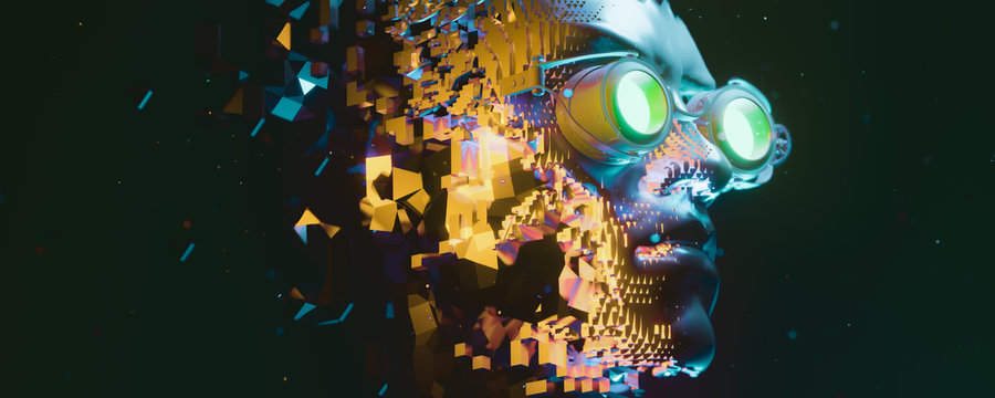 Abstract portrait of a steampunk cyberpunk character. 3d illustration