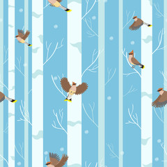Waxwings birds seamless pattern in winter forest.