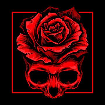 red skull roses vector logo