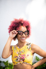 Young Woman Curly Hair and Glasses