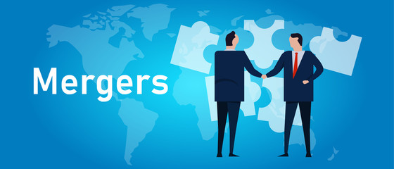 Mergers corporate and acquisitions. Two company acquisition businessman handshake work together collaboration