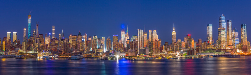 Fototapete - New York City Manhattan buildings skyline evening 2019 September