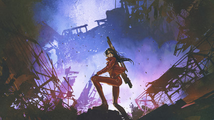 Zelfklevend Fotobehang Grandfailure futuristic soldier woman with gun standing against the ruined city, digital art style, illustration painting