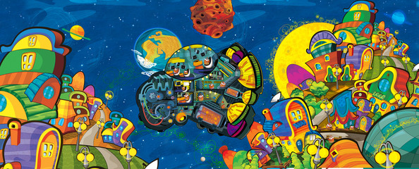 Poster Kosmos cartoon scene with some funny looking alien flying in ufo vehicle near some planet - white background - illustration for children