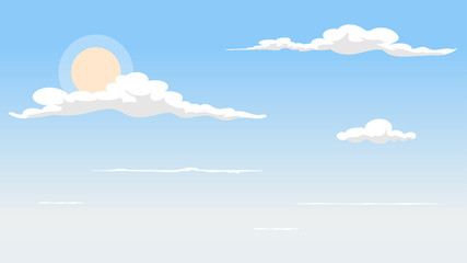 Landscape blue sky and white clouds on sunny day.Sky and cloud background.cartoon sky concetp.Vector illustration