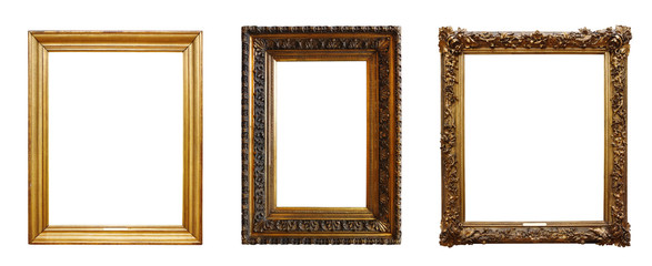 Fotobehang Retro Set of three vintage golden baroque wooden frames on isolated background