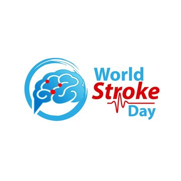 World stroke day design. Vector concept for banners or posters in flat style. Human head in profile view and text template