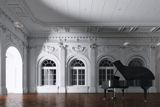 3d render of light in empty classic orchestra room with grand piano through the opened door