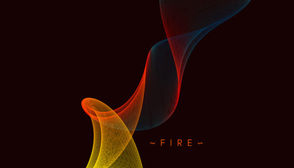 Burning fire flames. Abstract digital art. 3d vector illustration with dynamic particles.