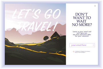 Vector squeeze page design template with beautiful flat mountain landscape illustration and email text box. Special offer season concept. For traveling firm and agency mailing, discount programs etc. Wall mural