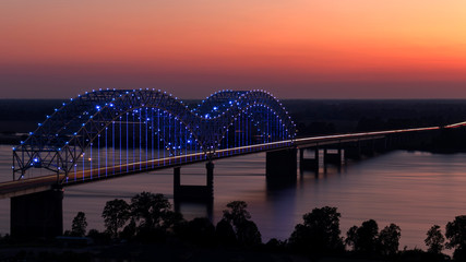Hernando De Soto Bridge at Sunset from above in Memphis, Tennessee