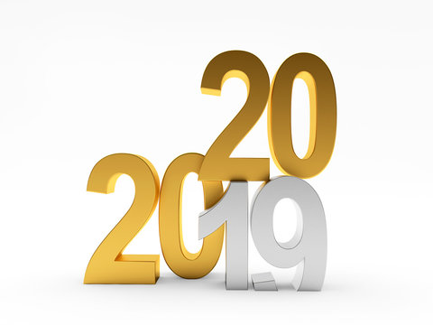 2020 New Year concept icon. The silver number 19 changes to golden number 20. 3D illustration