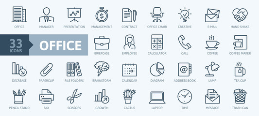 Office - thin line web icon set. Outline icons collection. Simple vector illustration.
