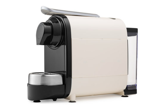 modern coffee machine made of plastic and metal, for preparing capsule coffee, on a white background