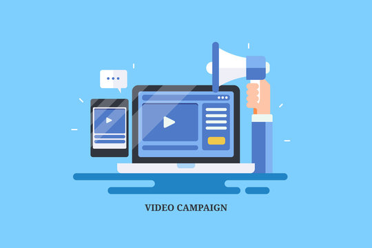 Successful video marketing campaign, social media engagement, digital media advertising concept. Flat design vector banner isolated on blue background.