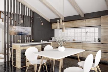 Modern wooden kitchen interior 3d rendering