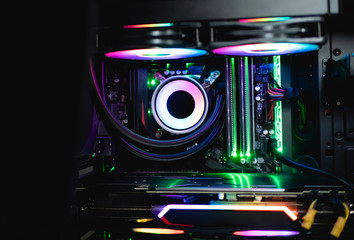 Case Mod concept with Cpu liquid cooling system, motherboard, case led kit and RGB fan.