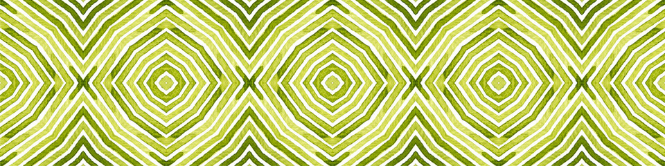 Green Seamless Border Scroll. Geometric Watercolor Wall mural