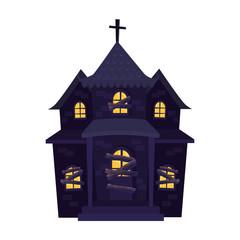 Obraz haunted house halloween isolated icon - fototapety do salonu