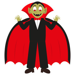 Cartoon vampire on a white background