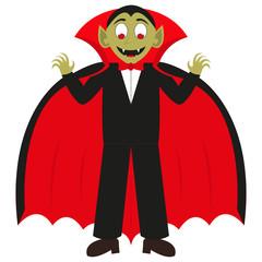 Cartoon vampire on a white background