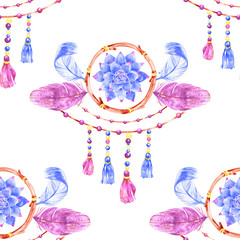 Seamless pattern with dreamcatchers, hand drawn in watercolor. Seamless texture with hand drawn feathers. Illustration for your design. Bright colors.