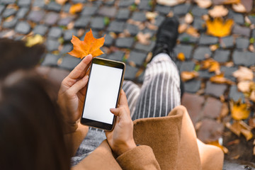 woman holding phone with white screen outdoors yellow maple leaf