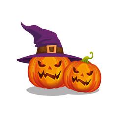 halloween pumpkins with witch hat