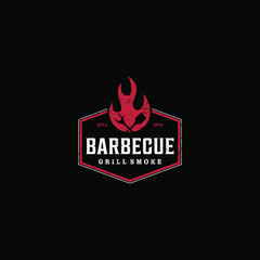 Barbecue bbw grill restaurant food drink logo design - fire meat sausage spatula element