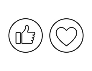 Thumb up heart linear buttons on white background. Heart line icon. Linear icon.