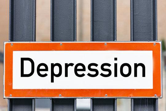 Hinweis Schild Depression
