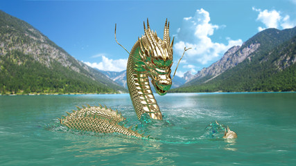 The Gold Chinese dragon pose on the sea and mountain background view with 3d rendering and photo.