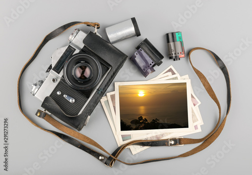 Wall mural antique film camera. Vintage photo concept