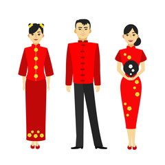 Cartoon Color Characters People Chinese Man and Woman Set. Vector