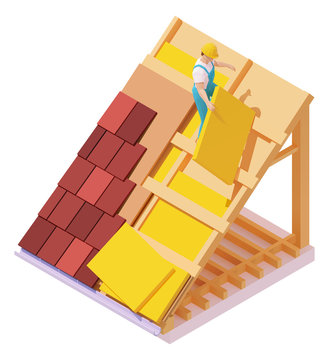 Vector isometric house roof construction