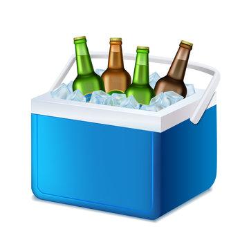 Realistic 3d Detailed Blue Handheld Refrigerator with Beer Bottles. Vector