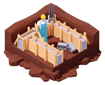 Vector isometric house foundation works