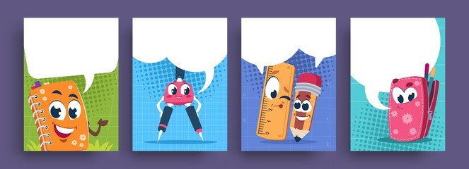 School characters poster. Cartoon cute educational supplies with speech bubble, funny school mascots collection. Vector illustration fun kids cartoon banners set for promotion advertisements