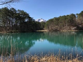 Blue Pond of Goshiki-numa with Reflection of Mt. Bandai