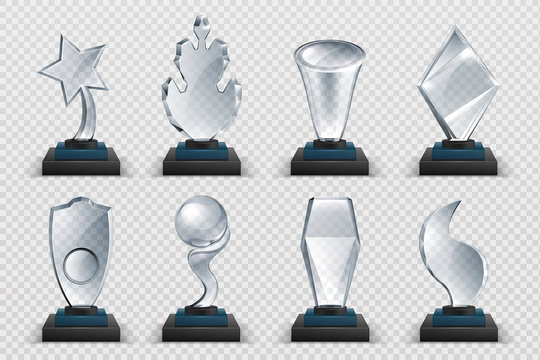 Glass awards. Realistic transparent winner trophy, acrylic stars cups and competition prizes. Vector isolated image fogged crystal award designs shape on board pedestal for awarded champion