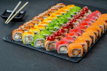 Sushi Set - Different Types of Maki Sushi and Nigiri Sushi.