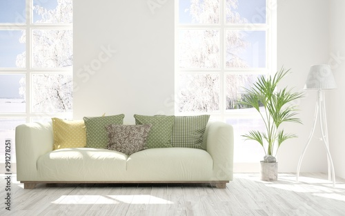 Pleasing Stylish Room In White Color With Sofa And Winter Landscape Gmtry Best Dining Table And Chair Ideas Images Gmtryco